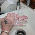 Lather on hands from one+ year old castile soap.