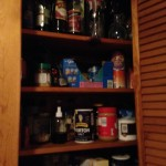 Canned cat food in the smaller pantry closet. We alternate between the cheap stuff and the good stuff. Give the equivalent of about a half a cheap can to each cat along with a little scoop of dry food,. They get this morning and evening. They will also eat the dog food. Resistance is futile.