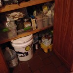 The other buckets of dry food and the wet food is in the yellow pkg to the bottom right.