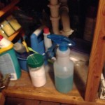 The spray cleaner under the sink. I'll try to remember to leave you plenty but I think the recipe is on the bottle.