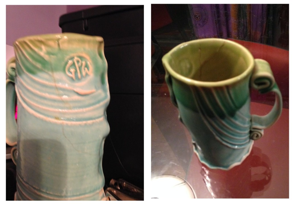 You can see the crack (which may not even go all the way through) on the face of the picture on the left. On the right you can see the y shaped crack inside the mug. That's where it leaks from.