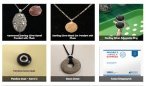 Jewelry made from cremated remains. Website I was trying to finish last week.