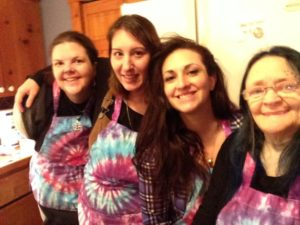My soap sisters in their aprons